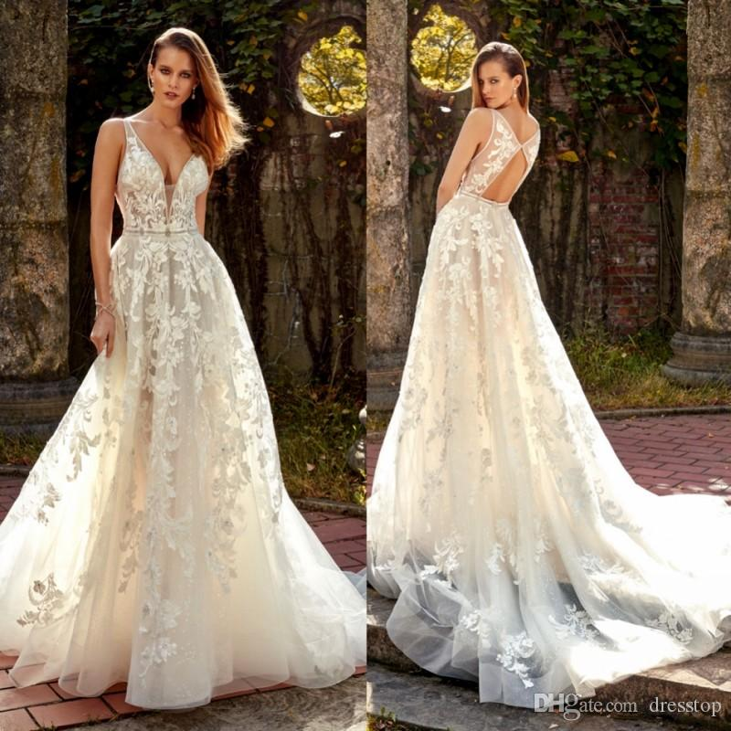 discount 2019 eve of milady lace wedding dresses v neck backless