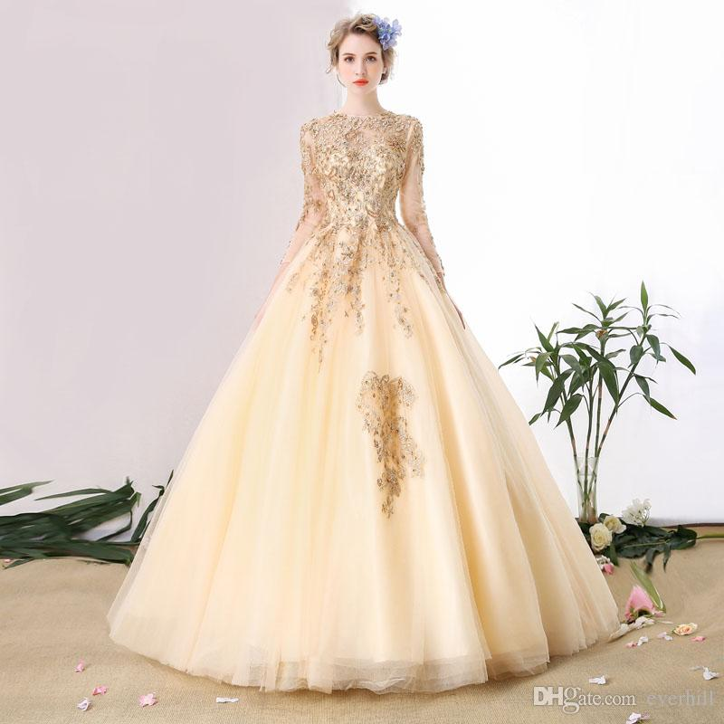 compre 2018 champagne vestidos de novia de manga larga con apliques