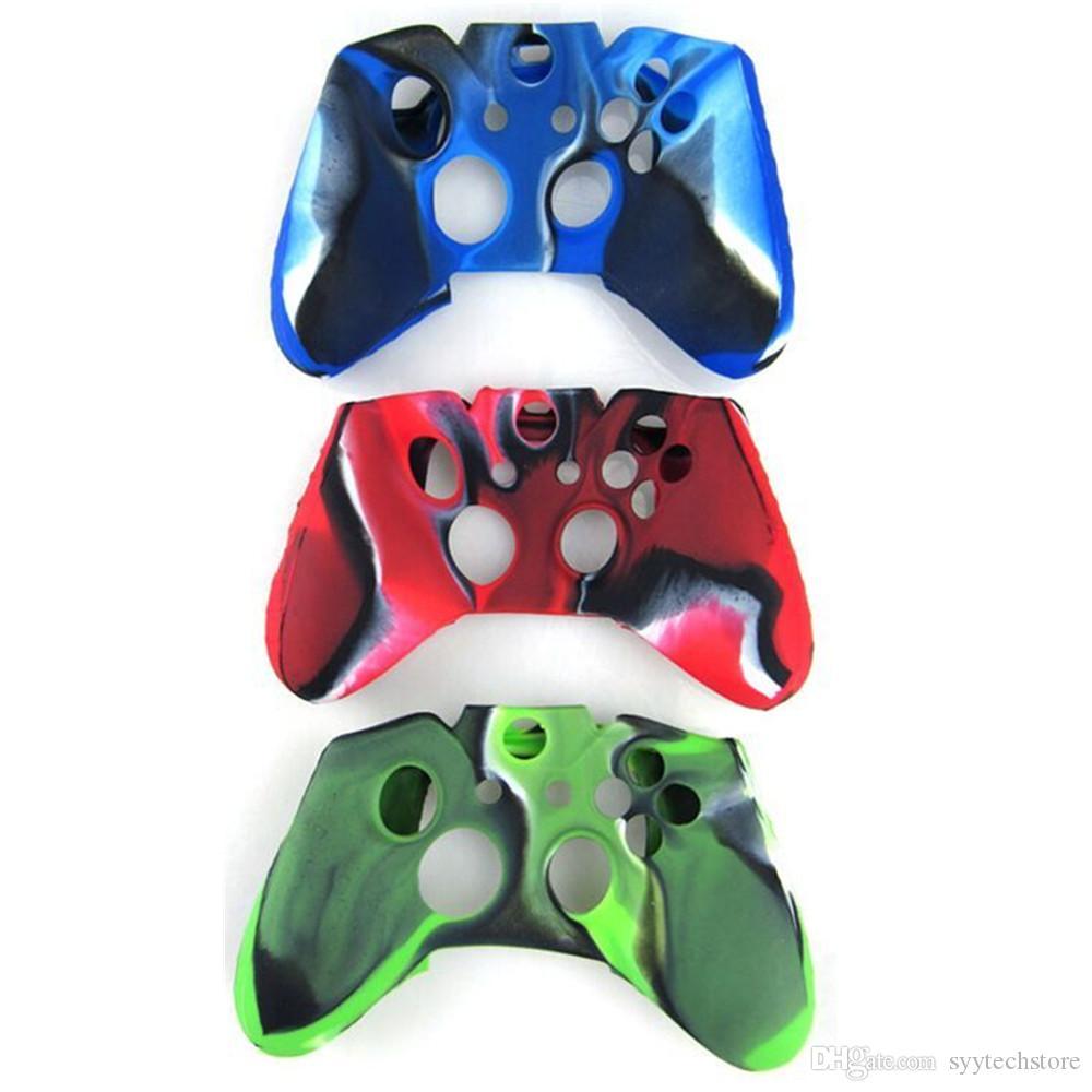 무료 배송 보호용 위장 소프트 실리콘 젤 고무 커버 스킨 케이스 Xbox One 컨트롤러 위장 블루 / 레드 / 그린