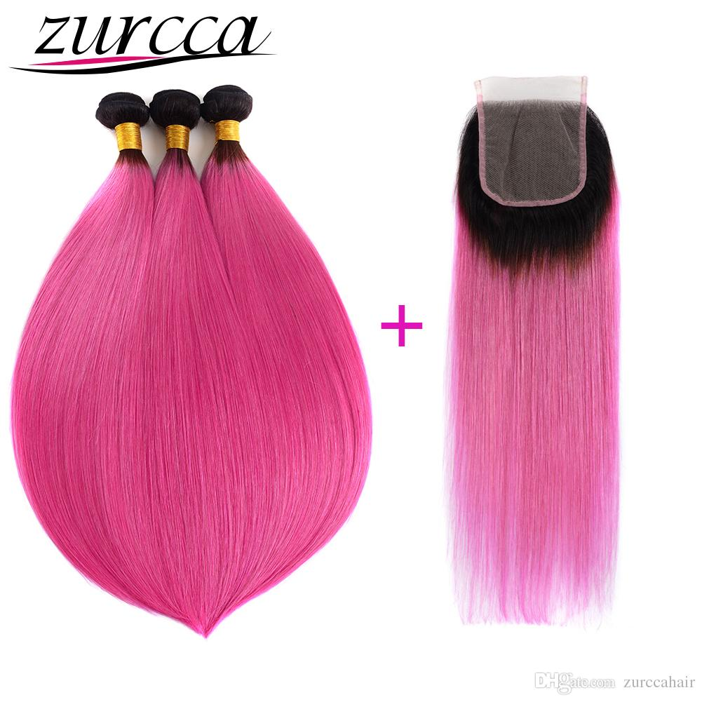 Zurcca Pre Colored Ombre Human Hair Extensions 1b Purple Straight 3