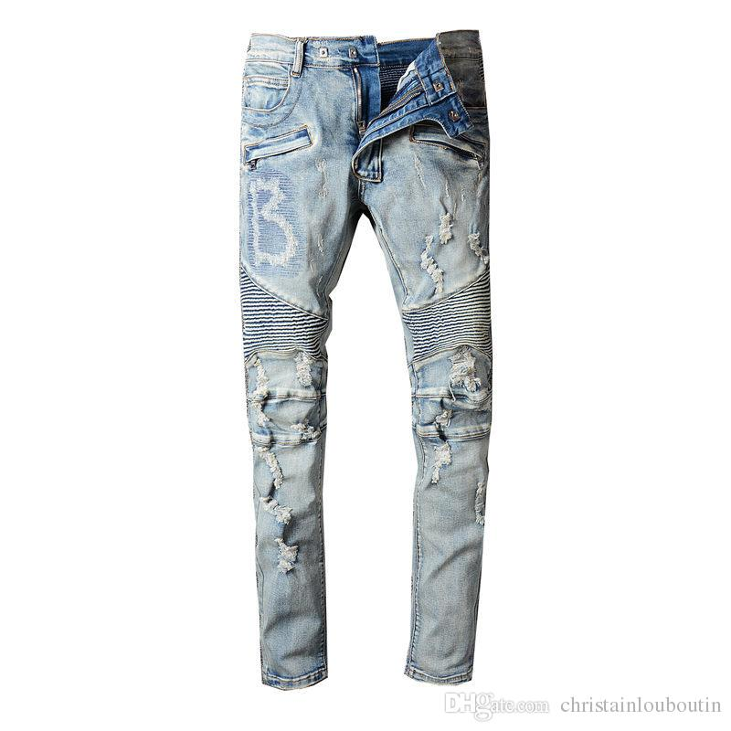 ceeda1fe 2019 2019 Balmain Mens Distressed Ripped Biker Jeans Slim Fit Motorcycle  Biker Denim For Men Fashion Designer Hip Hop Mens Jeans Good Quality From  ...