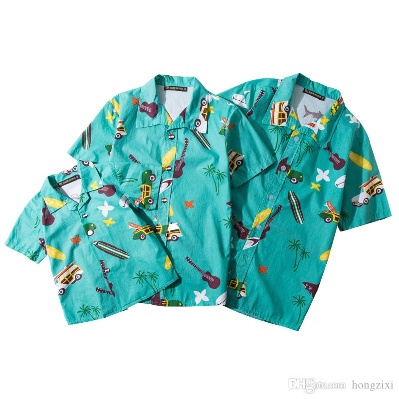 dbeaa7209b 2019 Family Hawaii Shirts Summer Cotton Floral Bus Guitar Shark Print  Holidays Shirt Father Mother Me Beach Sea Camisa Havaiana Camiseta Hombre  From ...