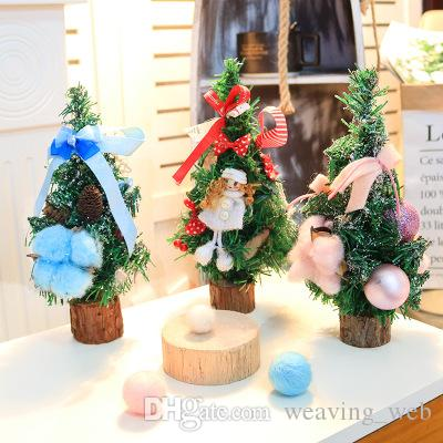 mini christmas trees home decorations small pine tree christmas desktop decor festival home party ornaments 25cm