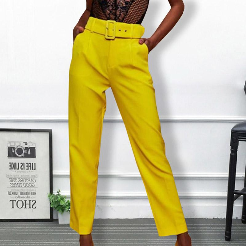26655fc4fa5 2019 Casual Pants High Waist Autumn Belted Straight Leg Slacks Office Lady  Suit Pants Women Trousers From Jujubery