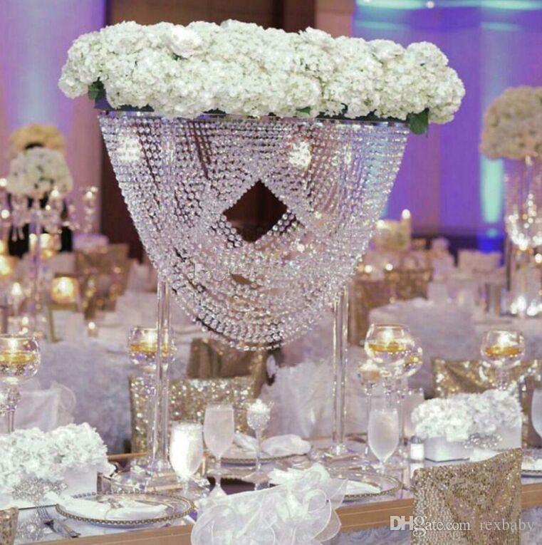 شكل بيضاوي كريستال أكريليك مطرز الزفاف المركزية زهرة حامل الجدول ديكور ل حفل زفاف حدث الديكور
