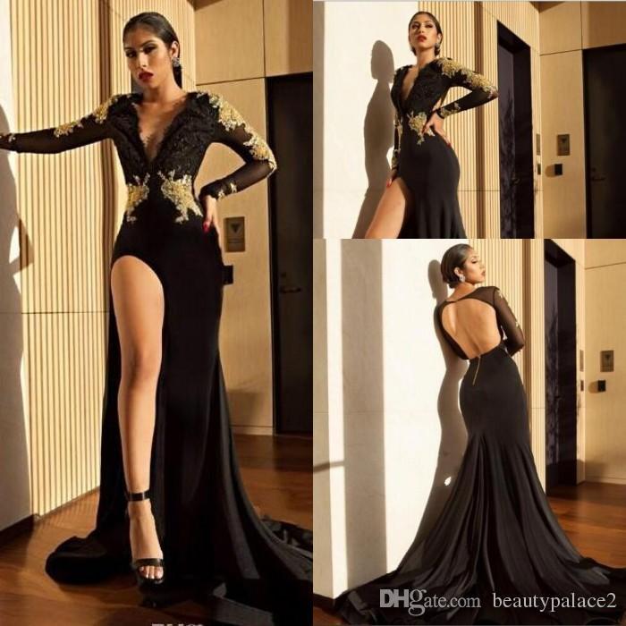 5c430aec2 Compre Vestidos De Fiesta Sexy De Tacón Alto Con Abertura En Negro 2018  Aplicaciones De Encaje Dorado Sirena De Mangas Largas Transparentes Vestidos  De ...