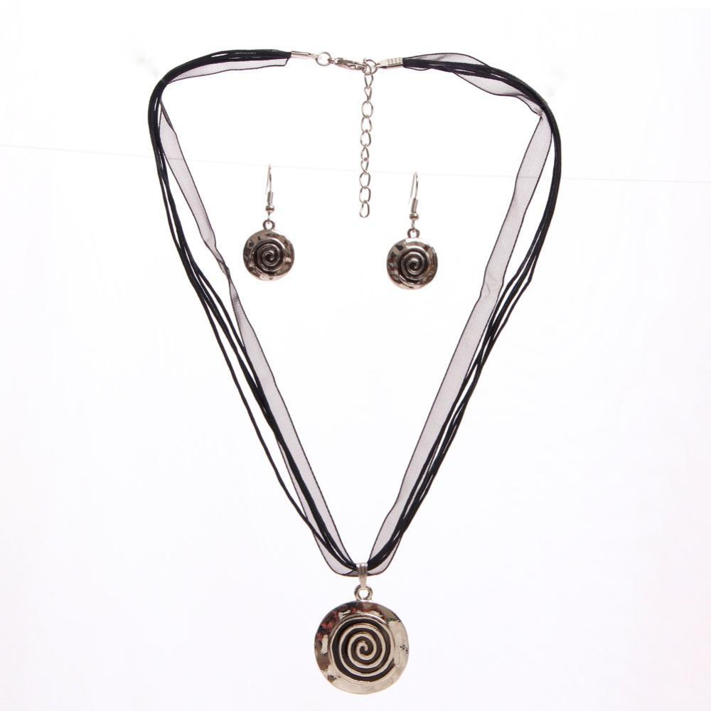 Neue Kommende Schwarz Schmuck-Set Für Dame Klassische Design Seil Halskette Ohrhänger Für Weibliche Partei Schmuck-Set