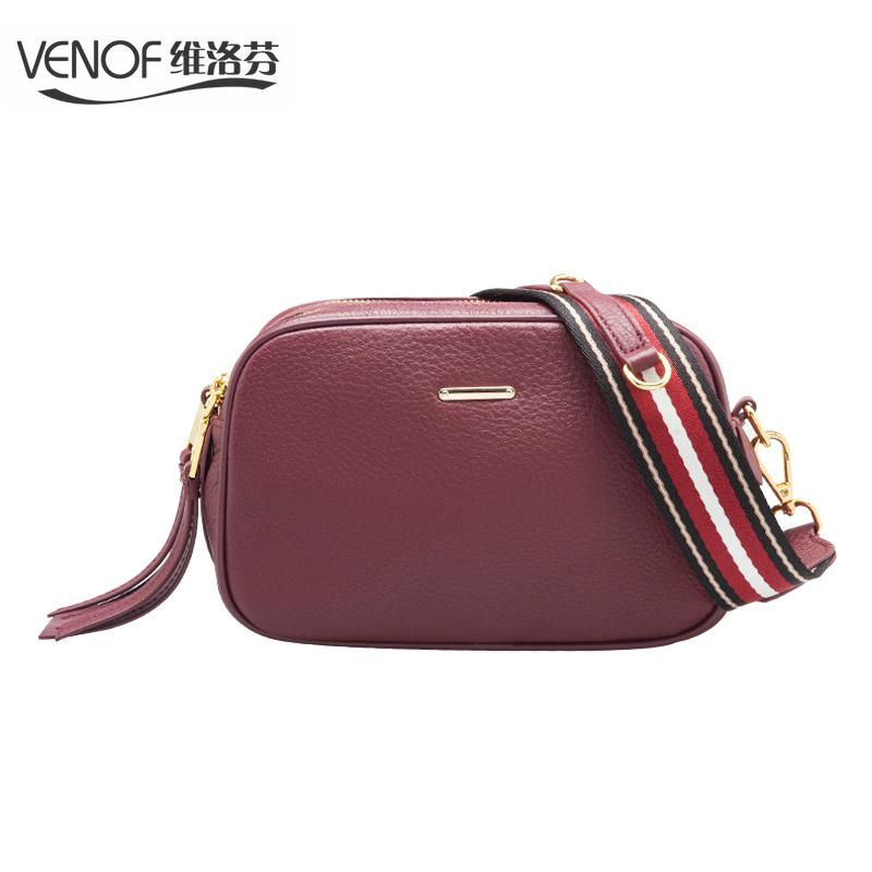 68671d725f VENOF Fashion 100% Genuine Leather Camera Bags Casual Women Crossbody Bag  Wide Straps Female Shoulder Bag Ladies Messenger Bags Handbags Purses From  ...