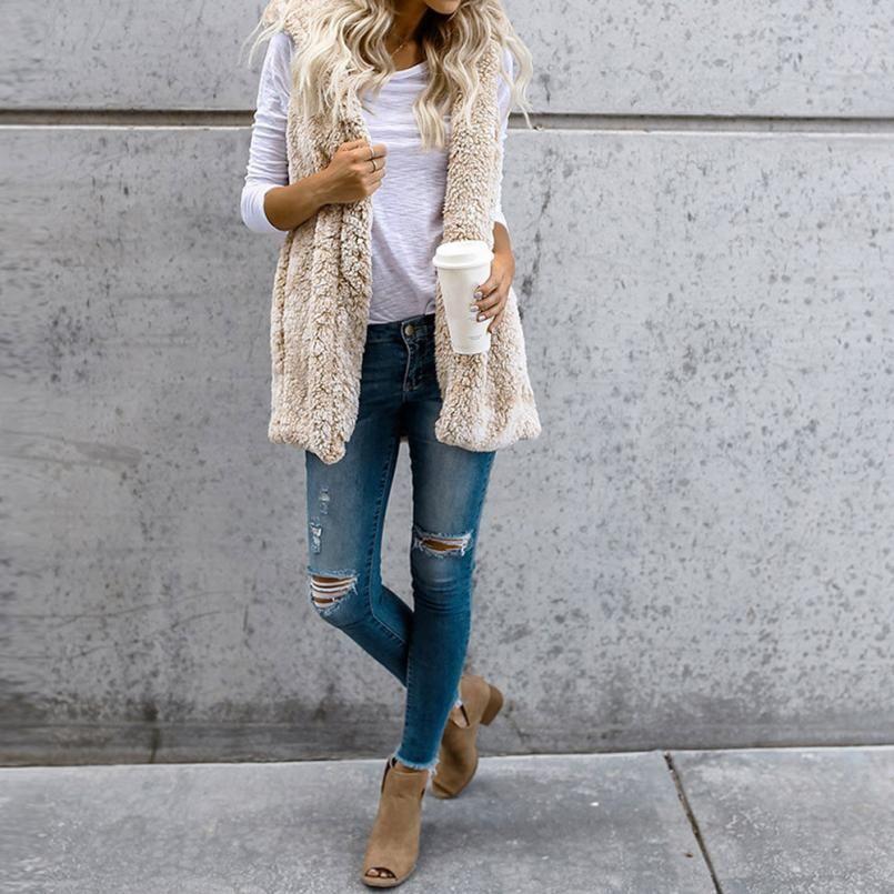 Womail Womens Vest Winter Warm Hoodie Outwear Casual Coat Faux Fur Zip Up Sherpa Jacket Vest Cardigan woman vest 2018 L30726