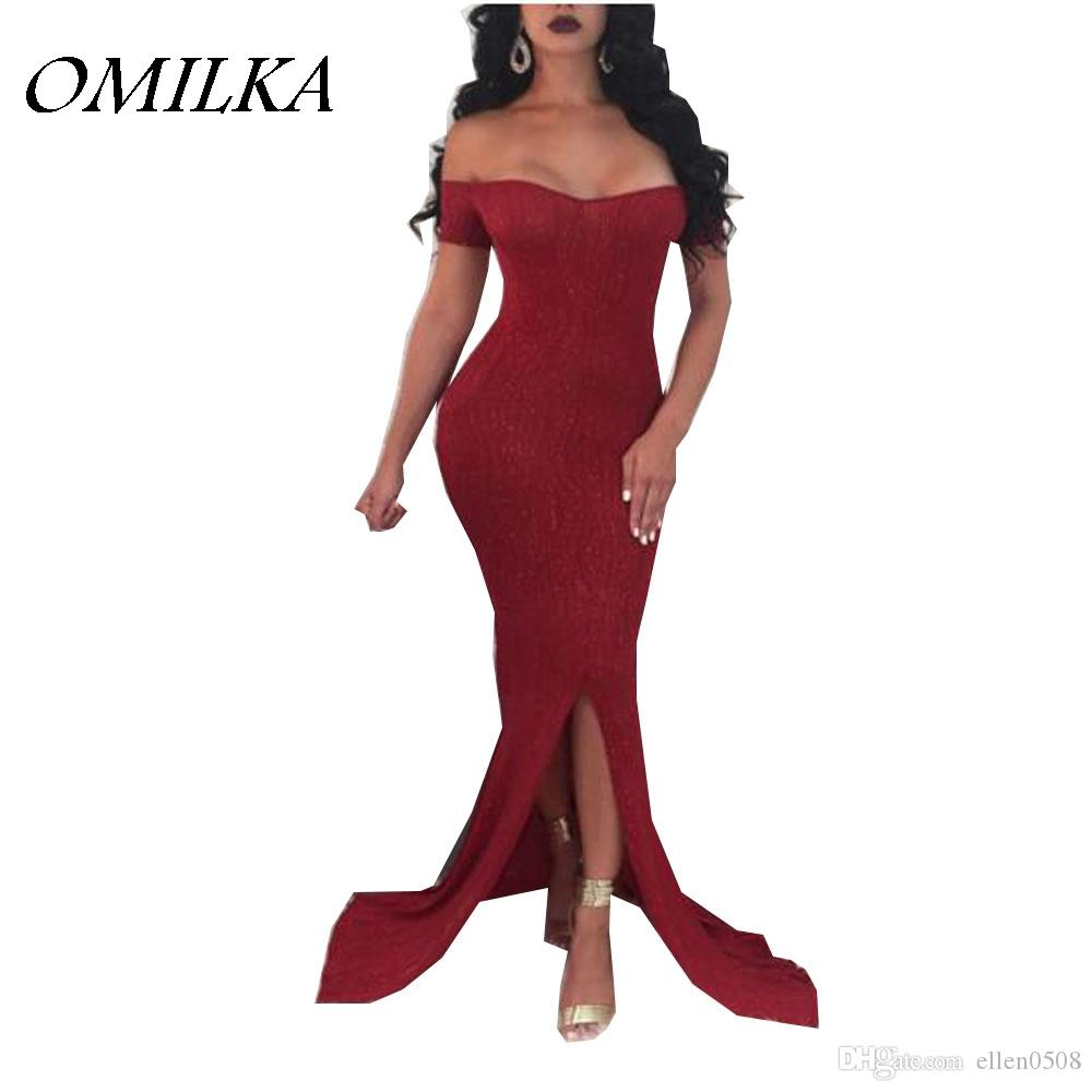 01d07f71ca5d OMILKA 2018 Spring Women Off The Shoulder Bodycon Split Bodycon Dress Sexy  Red Black Glitter Shiny Club Party Long Maxi Dress Pink Casual Dresses For  ...