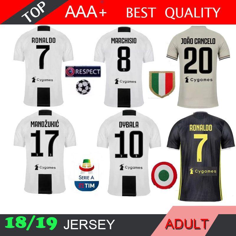 e134ced9f37 RONALDO Soccer Jersey 18 19 3RD Home AWAY BLACK 2018 2019 DYBALA ...