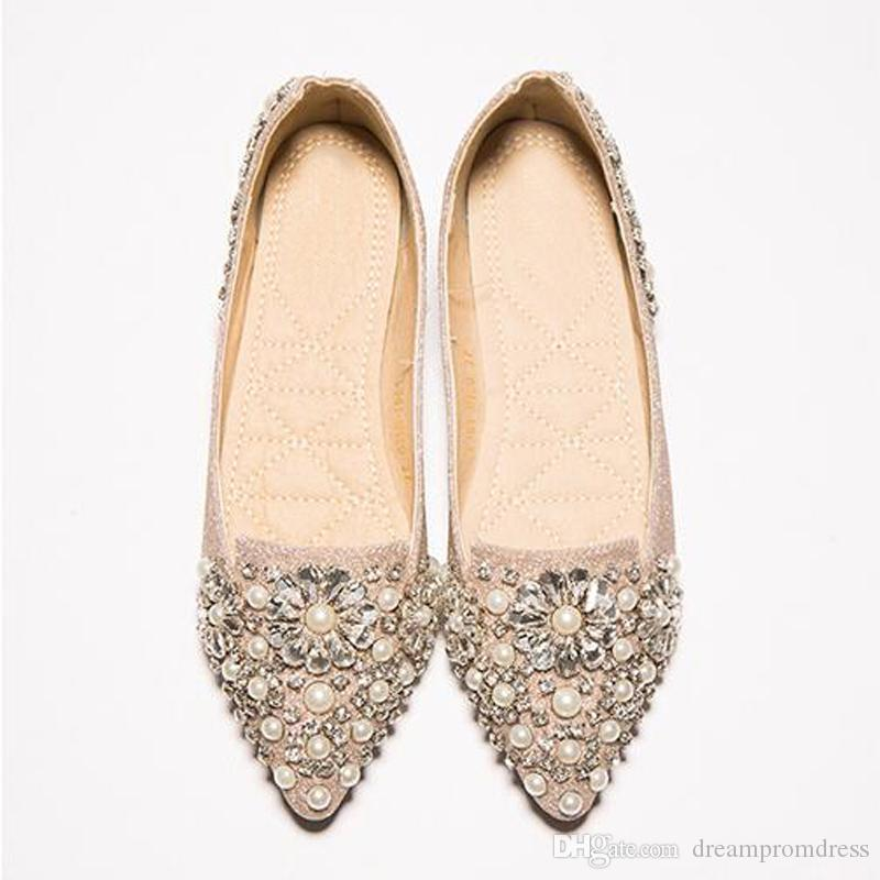 Ballet Flats Pearl Wedding Dress Shoes Pregnant Women Bridal Crystal Shoes  2018 Fashion Luxury Sandals Gold Silver Lace Shoes Prom Heels From  Dreampromdress ...