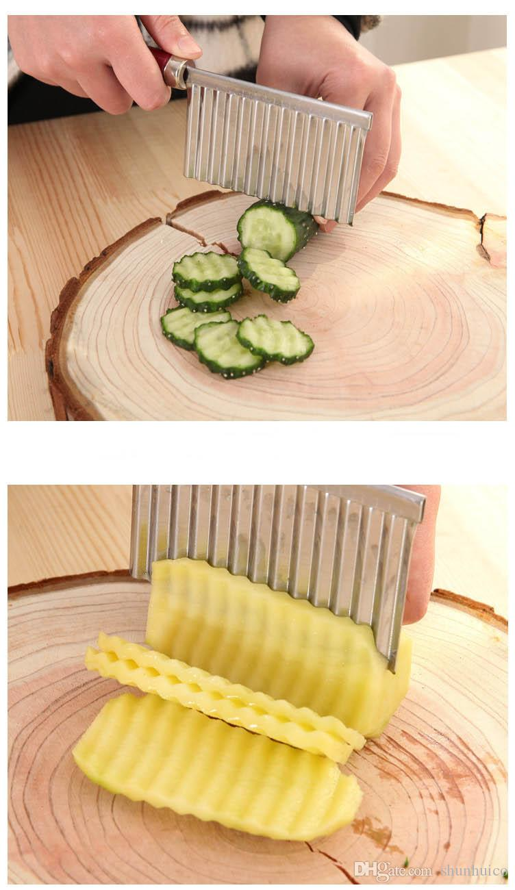 Potato french fry cutter Stainless Steel Kitchen tool Wave Knife Fruits Vegetable Slicer Potato Spiral Cutter Chopper