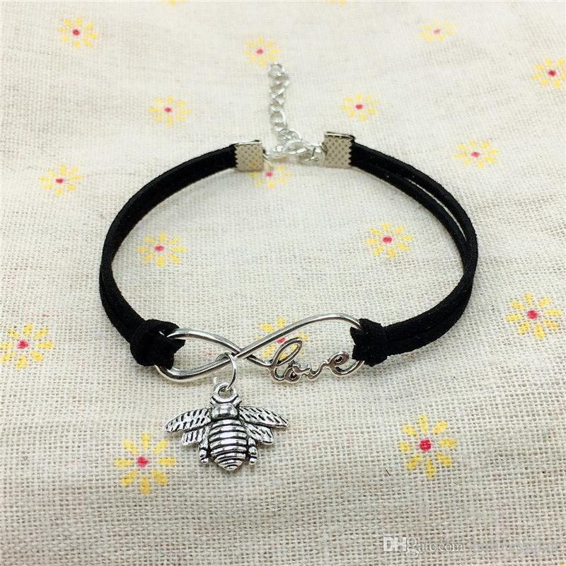 2018 New Fashion Vintage Cute Animals Antique Silver Lucky bees Handmade Charms Infinity Love Leather Bracelet for Women Gifts Accessories