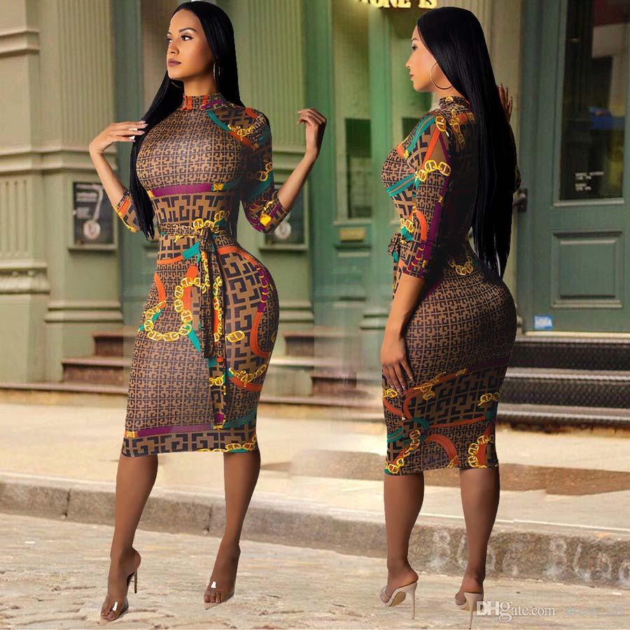 Women Plaid Prints Casual Plus Size Dress Vestidos Fall Dresses Long Sleeve  Midi Bodycon Dress