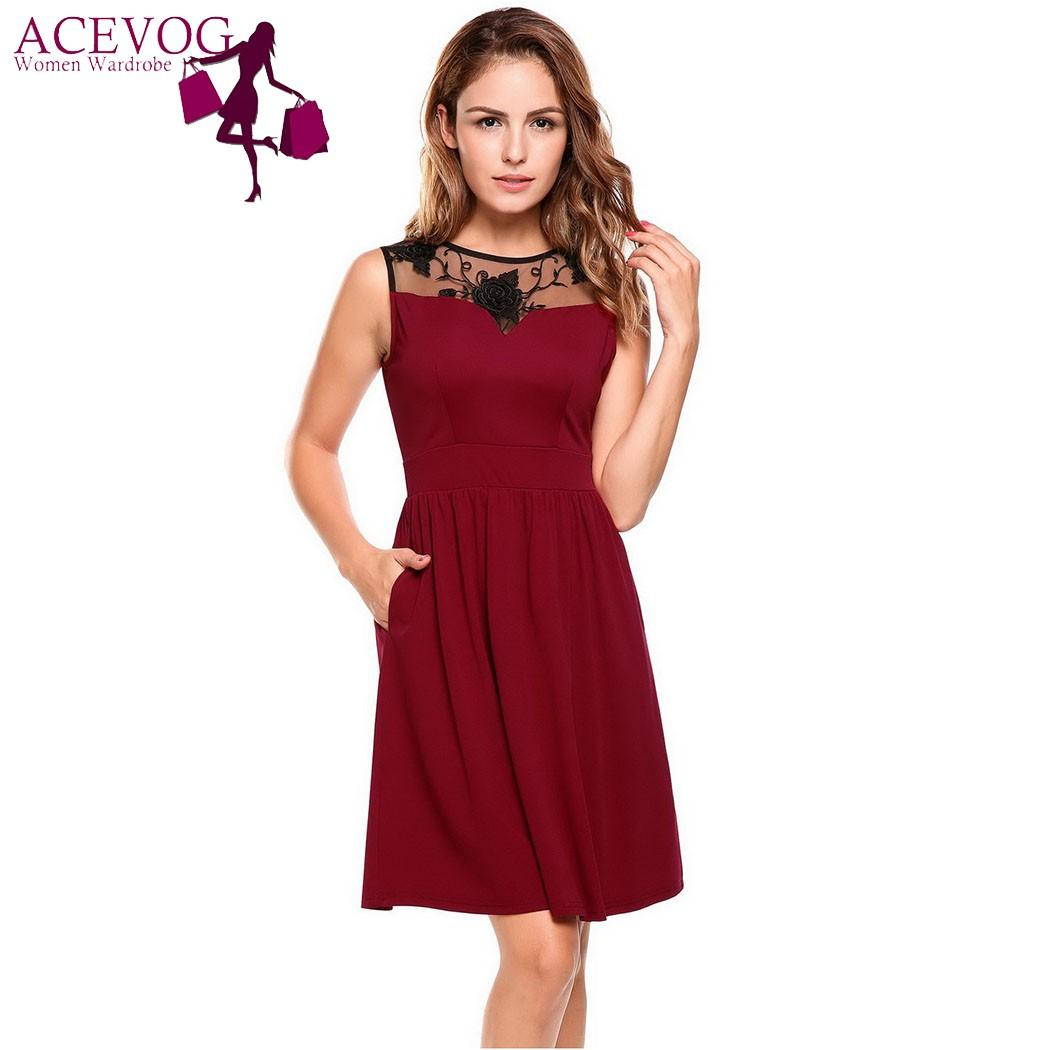 ACEVOG Women Dress O-Neck Sleeveless Patchwork Floral A-Line Pleated ... 2f87b81b1