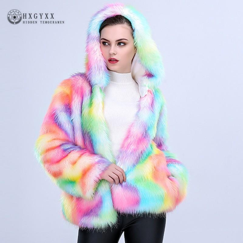 fbdc44395b 2019 Coloured Unicorn Faux Fur Coat Woman Autumn Winter Long Sleeve Hooded  Fur Jacket Soft Warm Fashion Short Outerwear 2018 Okd557 From Qingxin13, ...
