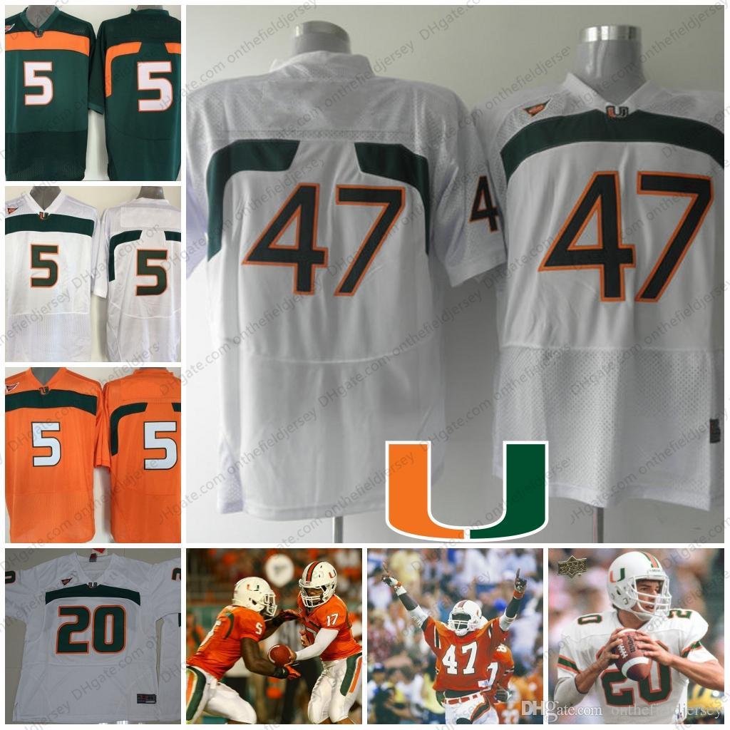 new style 35358 fc2c0 Miami Hurricanes #47 Ottis Anderson 20 Bernie Kosar 5 Edgerrin James Orange  Green White NCAA College Football Jerseys S-3XL