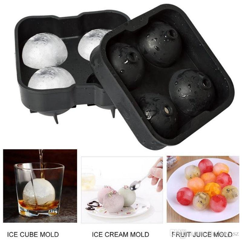 4 Large Sphere Molds Bar Drink Whiskey Big Round Ball Ice Brick Cube Maker Mold Mould Ice Balls Tray DHL fast shipping