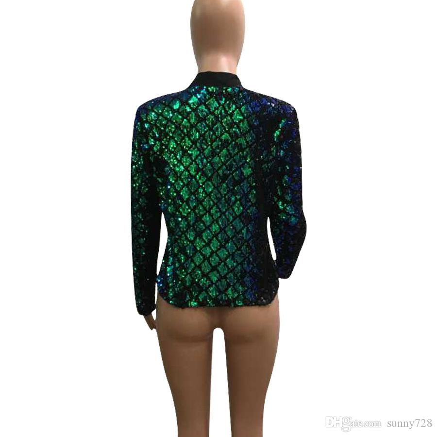 2018 New Trendy Bling Plaid Sequins Short Women's Suits & Blazers Fashion Long Sleeve Lapel Neck OL Work Coats Women Jackets Actual Photos