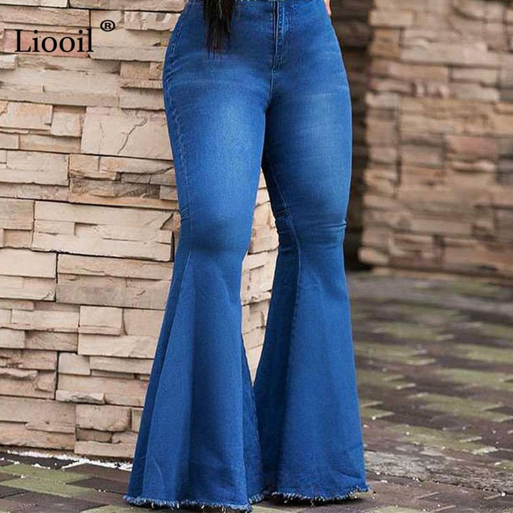 Liooil Mid Waist Plus Size Skinny Party Jeans Woman Summer Sexy Club Fashion Wide Leg Zipper Button Women Clothes Denim Pants