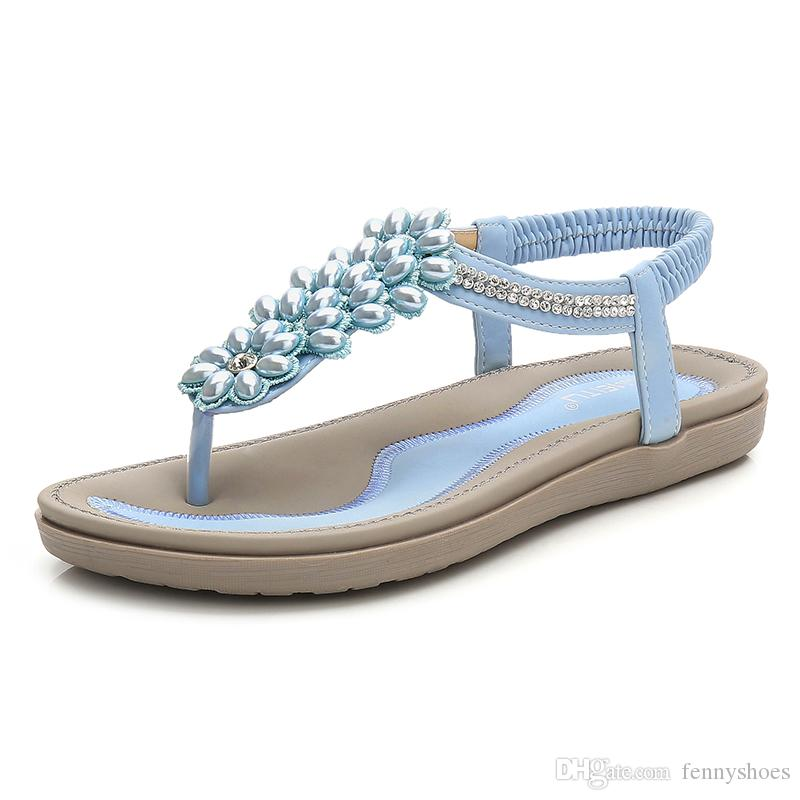c97fdda79 2018 New Arrival Womens Bohemian Thong Sandal Elastic Back Strap Clip Toe  Beads Flats Sandals Made In China White Wedges Cheap Shoes For Women From  ...