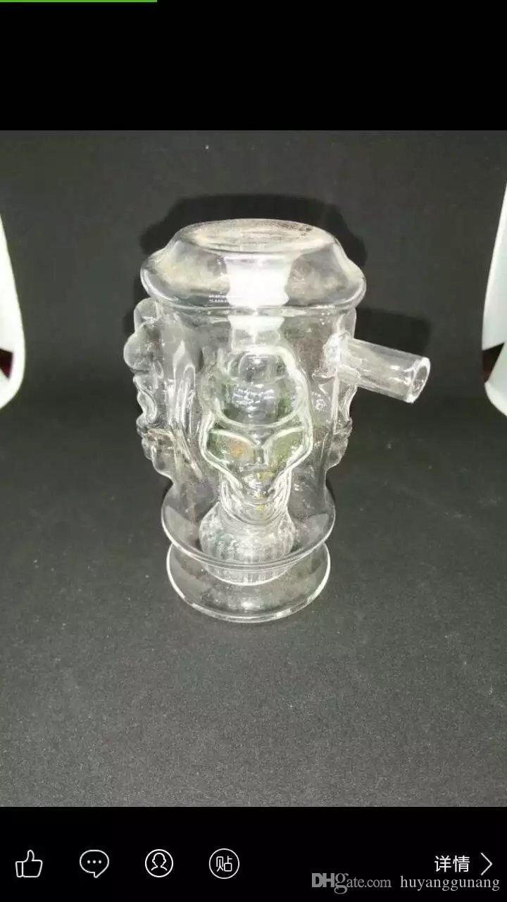 Quatre crâne os bouteille d'eau Gros bongs Brûleur à l'huile Tuyaux D'eau Pipes Verre Pipe Huile Rigs Fumer, Livraison Gratuite