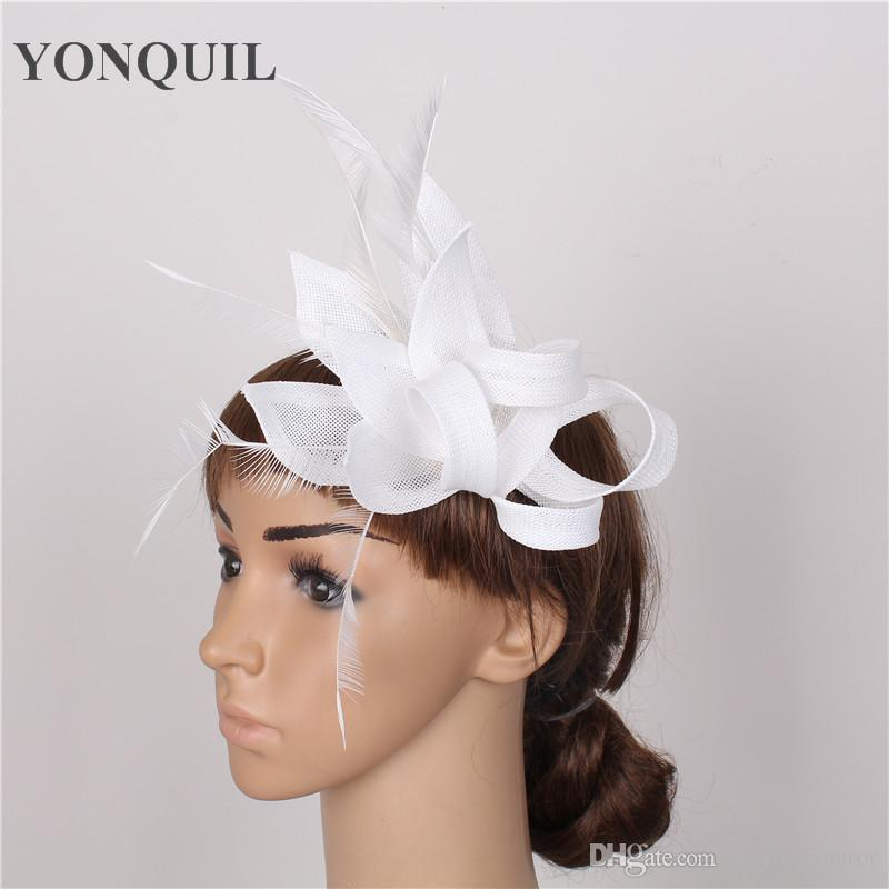 841c224f1970b Multiple Color Women White Wedding DIY Hair Accessories Headband Event Fascinator  Bridal With Feather Headpiece Party Decoration SYF57 Bridal Hats And ...