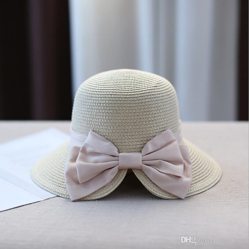 21922085c89 Women S Summer Floppy Sun Hats Middle Brim Straw Hat Linen Bowknot Beach  Travel Holiday Style Foldable Casual Hat Split Brimmed Tophat QN UK 2019  From ...
