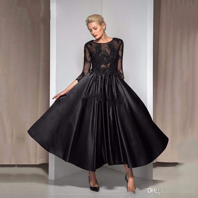 Vintage Tea Length Black Formal Evening Dresses with 3/4 Sleeve Keyhole Back Applique Beads Cheap Mother of the Bride Gowns