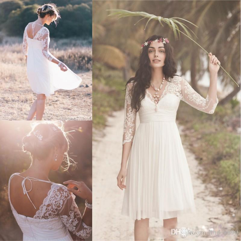 b33a19fab26 Discount Vintage Chiffon Beach Wedding Dresses V Neck 3 4 Long Sleeve Lace  Appliqued Knee Length Bridal Gowns Boho Cheap Wedding Dress Short Wedding  Dresses ...