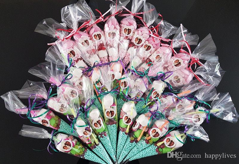 Clear Cellophane Cone Bags Twist Ties Large size Party Sweet Cello Candy NEW