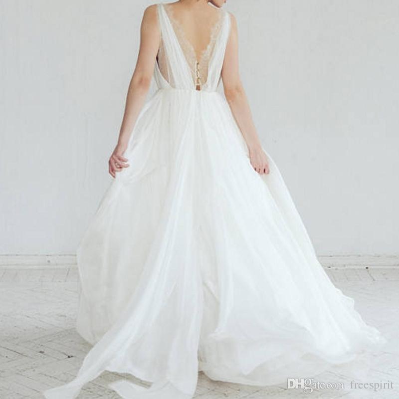9a93cba4d0d Discount Bohemian Backless Wedding Dress Flowy Chiffon Pleated V Neck A  Line Chiffon Boho Beach Dresses For Bride Casual Simple Bridal Gown A Line  Wedding ...