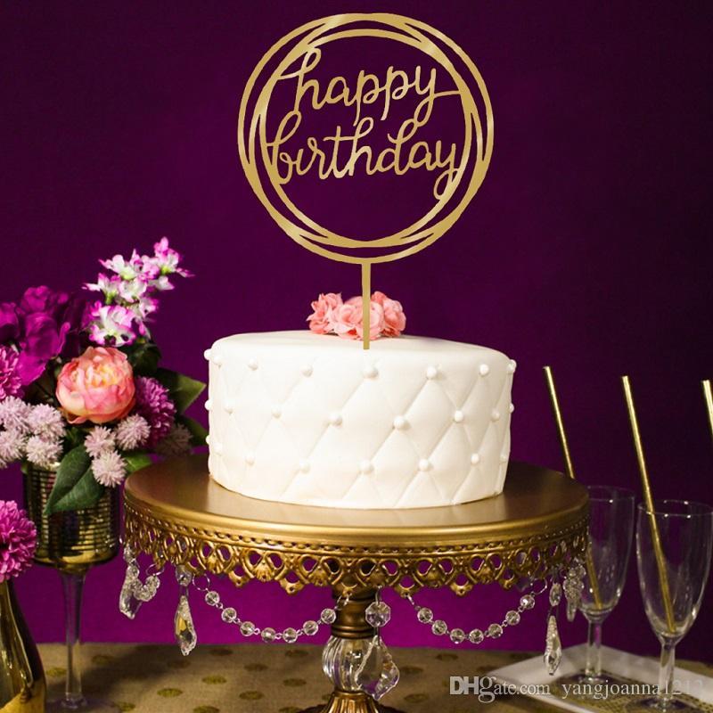 Grosshandel Acryl Happy Birthday Cake Topper Gluckliche Mutter Tag Kucheneinsatz Karte Schone Kuchen Dekoration Event Party Supply
