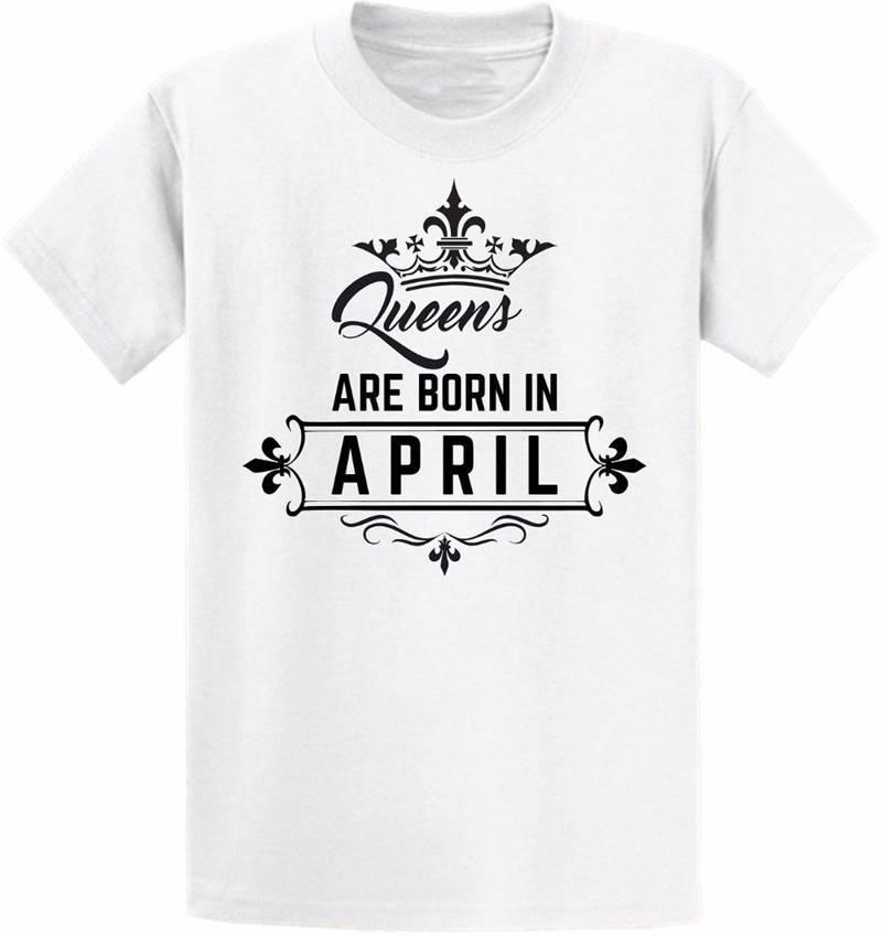 T Shirt Ideas Queens nascono in aprile T-shirt da donna con scollo a manica corta da donna
