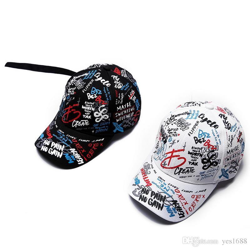 2018 Promotion New Arrival Ball Cap Black Adjustable Print Doodle Baseball  Cap Outdoor Casual Fashion Sun Hat Men Women Snapback Hip Hop Baseball Caps  For ... fb9224aad51d