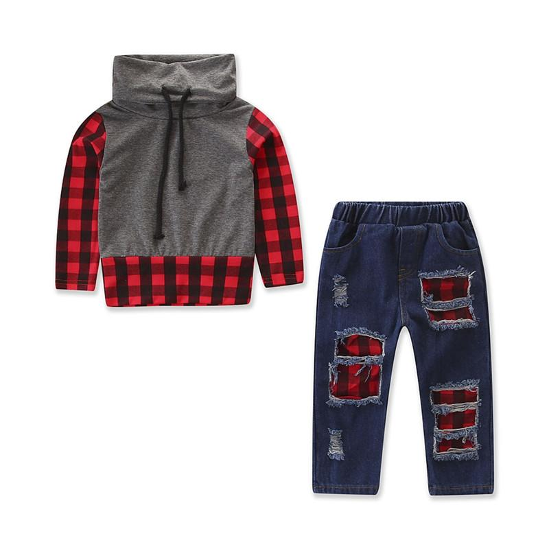 b66f55708 2019 Toddler Kids Baby Boy Plaid Tops Shirt Denim Jeans Pants Partch  Leggings Casual Outfit Clothes Children Clothing Set From Benedicty, $21.79  | DHgate.