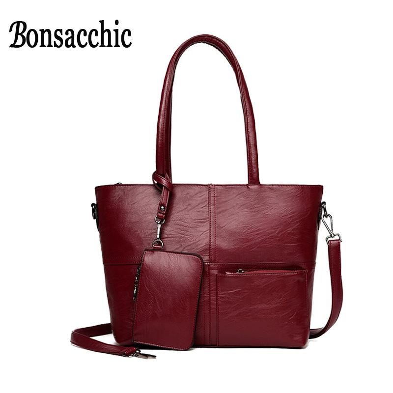 d52ec1a910 Bonsacchic Women Handbag Famous Brand Hand Bags Set Large Capacity Portable  Shoulder Tote Bags Female Clutch Purse Sac Handbags Wholesale Leather Purse  From ...