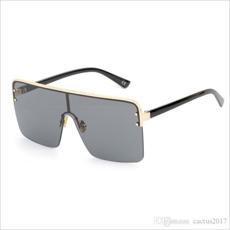 7b394af0aac00 Compre Oversized Quadrado Óculos De Sol Para Homens Um Pedaço De Lente À  Prova De Vento Semi Sem Aro Mulheres Óculos De Sol Preto 2018 Moda De  Cactus2017, ...