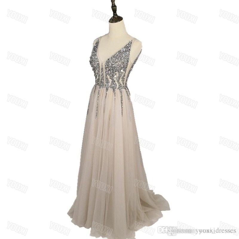 6da32d6fcfd179 Long Party Prom Dresses Sexy Deep V Neck Sequins Tulle And Lace Sex High  Split Long Evening Dresses Spring Dresses White Dresses For Women From ...