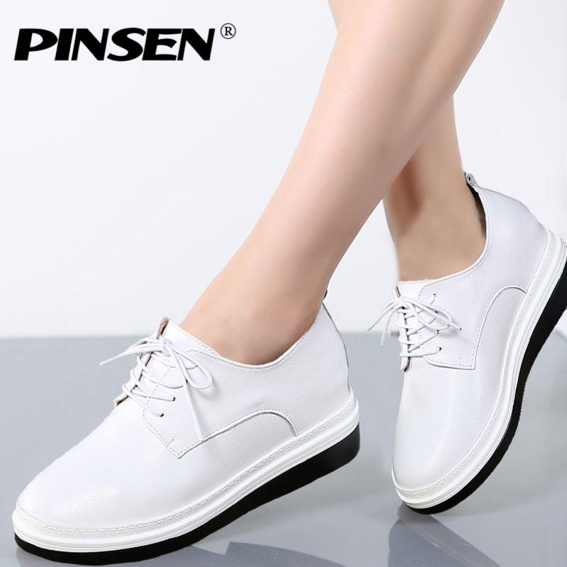 44c1f056807d PINSEN 2017 Autumn Women Flats Shoes Genuine Leather Lace Up Platform  Height Increase Ladies Oxfords Shoes For Womens Creepers Mens Boots Shoe  From Faaa