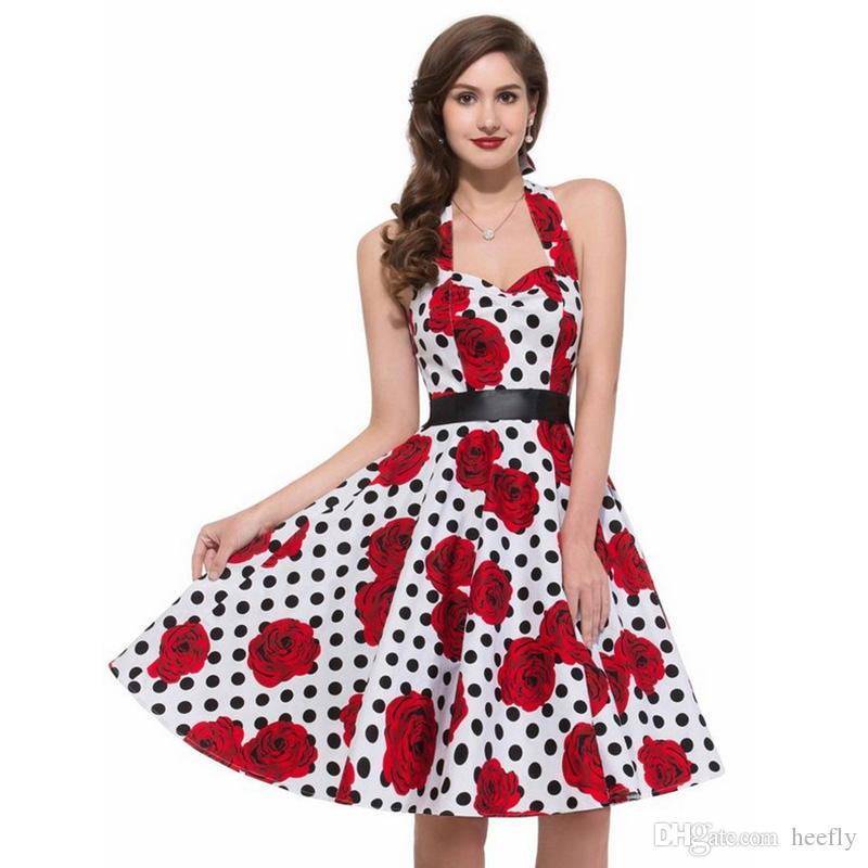 bdfffe4cd2f 2017 Women Polka Dot Dress Big Swing Vestidos Retro Robe Casual Prom ...