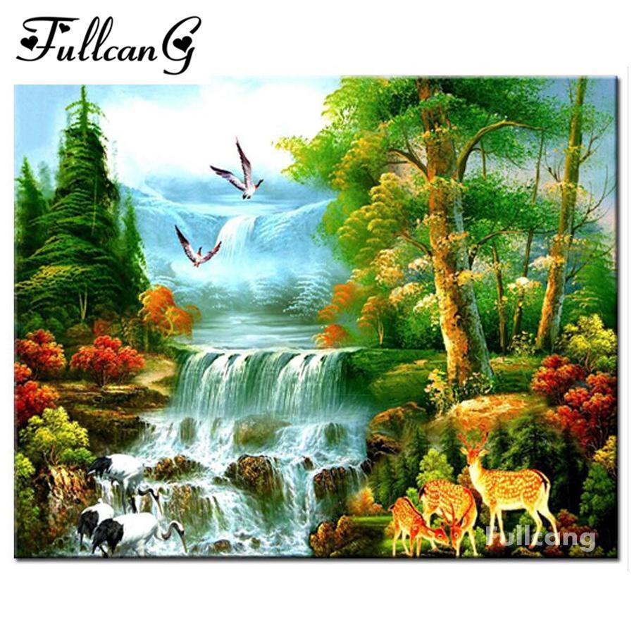 Satın Al Fullcang Tam Mozaik Elmas Boyama Doğal Manzara şelale Elmas