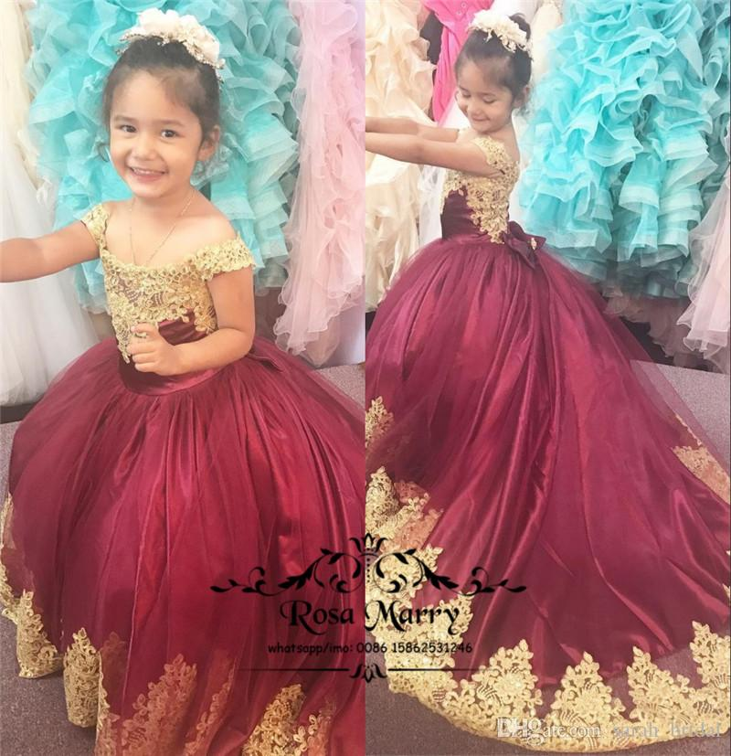Red Gold Lace Ball Gown Flower Girls Dresses 2018 Off Shoulder Vintage  Applique Princess First Communion Birthday Prom Party Gowns For Teens  Flower Girl ... f83204ab6e43