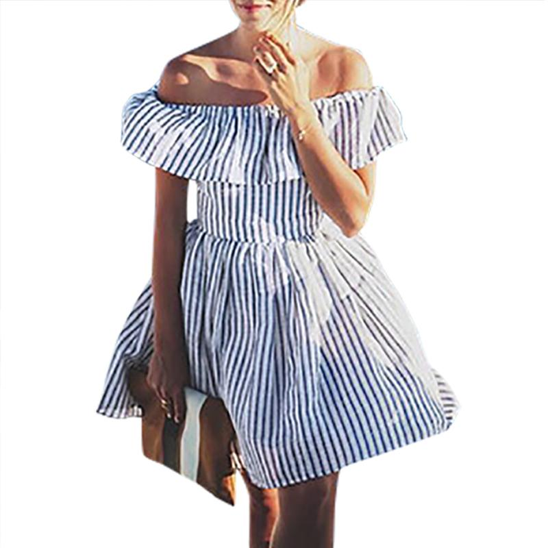 4567577caf0 Ruffles Striped Off Shoulder Women Dress Sexy Beach Female Back Cut Out  Mini Dresses Casual 2018 New Girls Summer Sundress GV719 Plus Size Party  Dresses ...