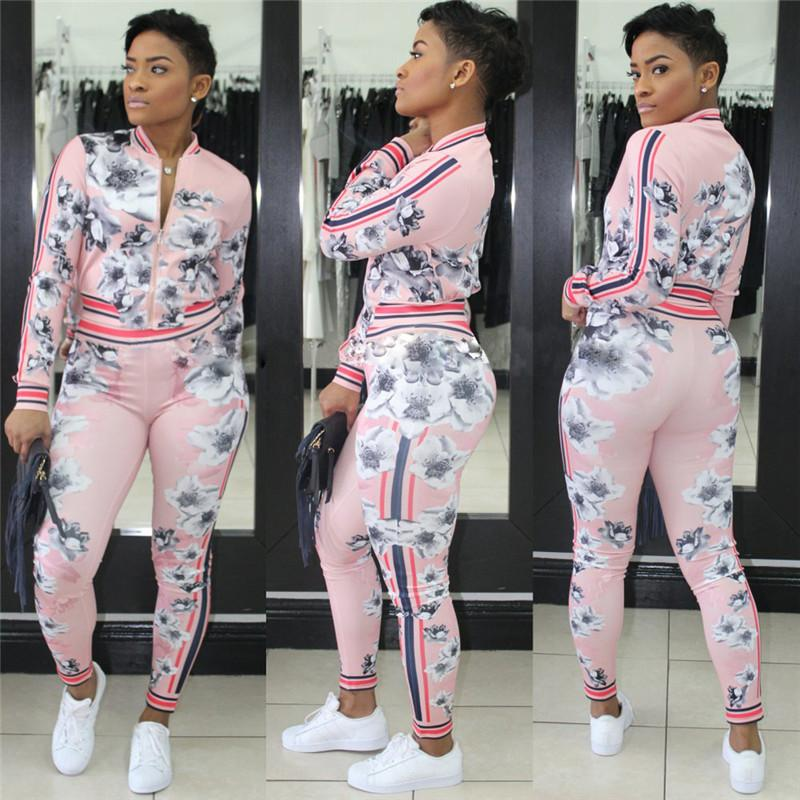 Floral Print Women Two Piece Outfits Fashion Autumn Sweatsuit Long Sleeve Hoodie Crop Jacket + Pants Designer Tracksuit Jogger Sportwear