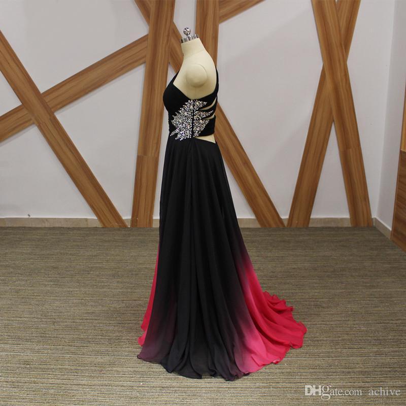 2018 Benzersiz Degrade Gelinlik Modelleri Uzun Abiye Seksi Bir Omuz Uzun Parti Elbiseler Kristaller Şifon Örgün Törenlerinde Custom Made
