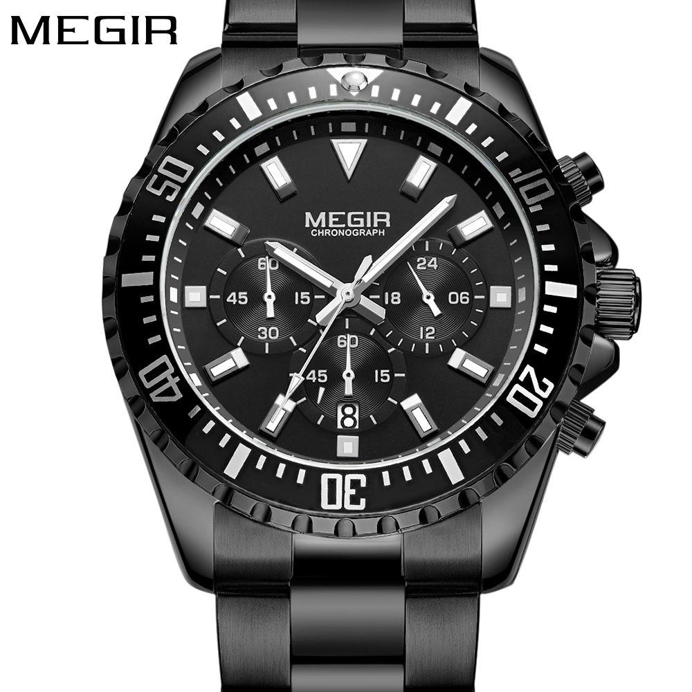 5b3dbe2af73 Compre Megir Homens Sports Aço Inoxidável Relógio Analógico De Quartzo  Relógio De Pulso Multifuncional Cronógrafo Relojes Masculino Hombre Relógio  Homem De ...