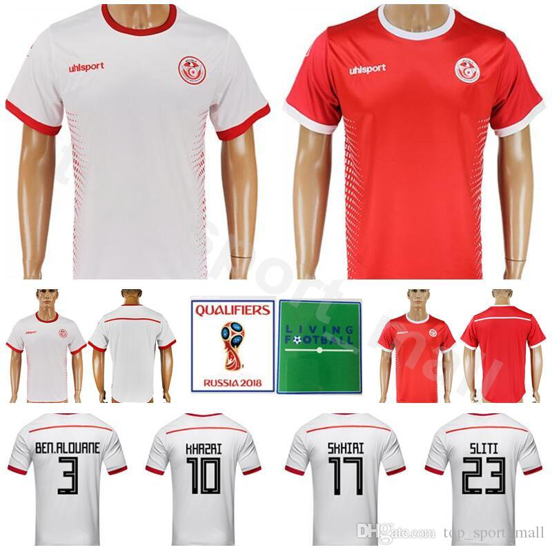 2019 World Cup 2018 Tunisia Jersey Men Soccer 10 Wahbi Khazri 23 Naim Sliti  Football Shirt Kits National Team 7 Youssef Msakni 7 Ahmed Akaichi From ... e8ba0e21a