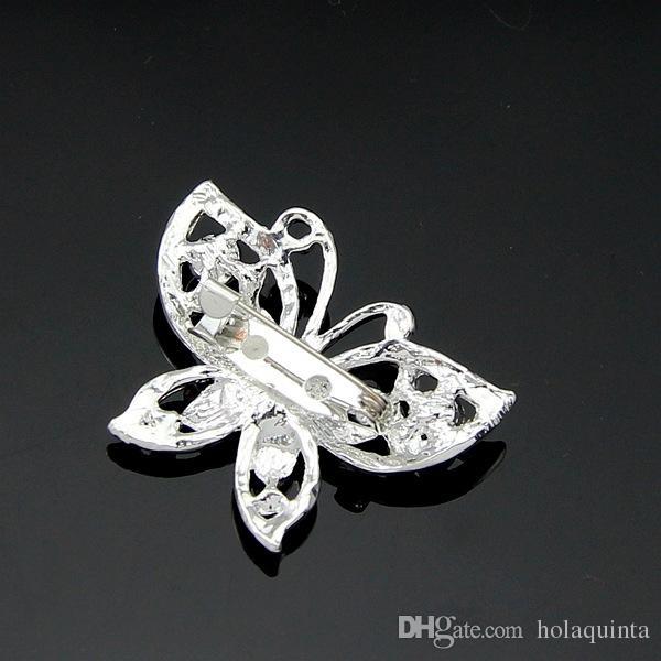 Broche mariposa ópalo de joyería de la boda del Rhinestone de las mujeres broches de la manera Bijouterie plateado plata sin plomo